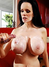 Sofia lets her massive breasts bouncy while she rides a younger guys dick on the couch